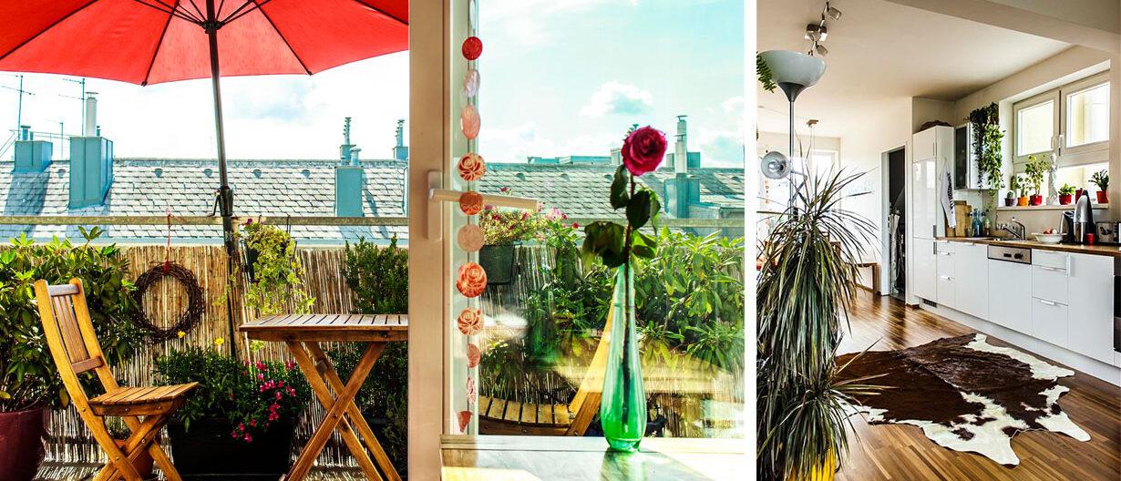 Aussicht auf Balkon und modern eingerichtete Küche
