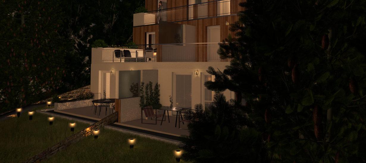 Nacht-Visualisierung des Holzbau-Projekts in Purkersdorf